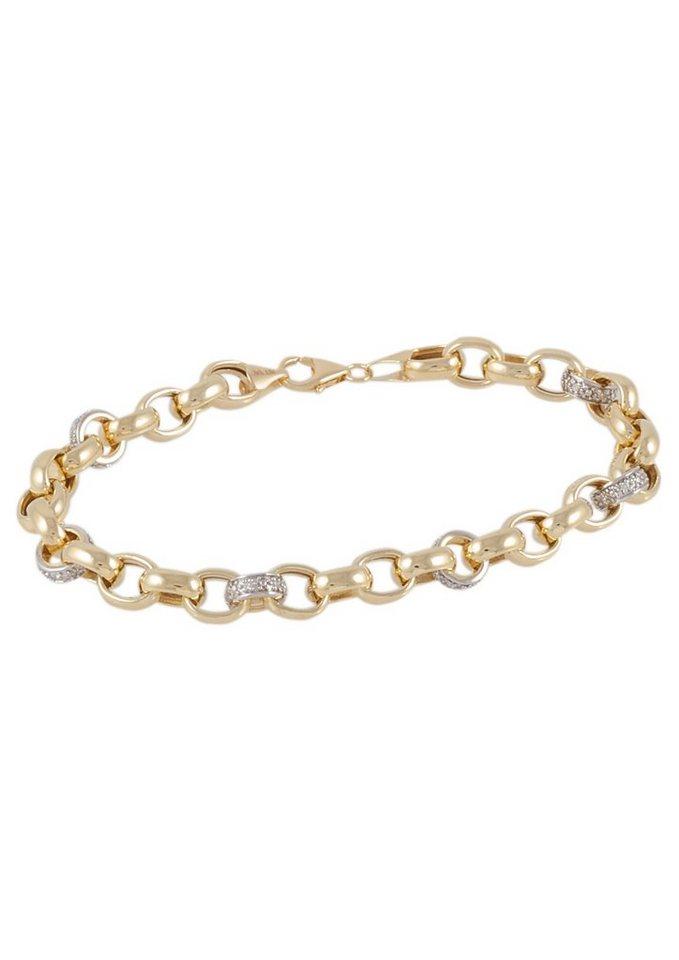 Vivance Jewels Armschmuck: Armband in Erbskettengliederung mit Diamanten in Gelbgold 375/teilweise rhodiniert