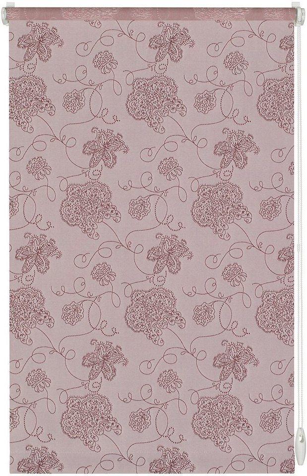 Seitenzugrollo im Fixmaß, Gardinia, »Stickerei«, Lichtschutz in rose