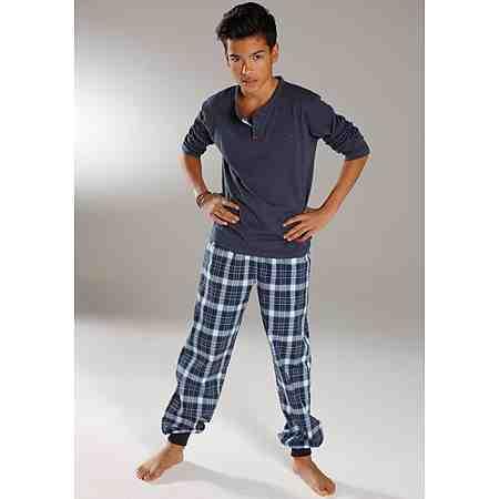 H.I.S Pyjama, Oberteil mit unterlegter Knopfleiste, Webhose mit Bündchen am Beinsaum