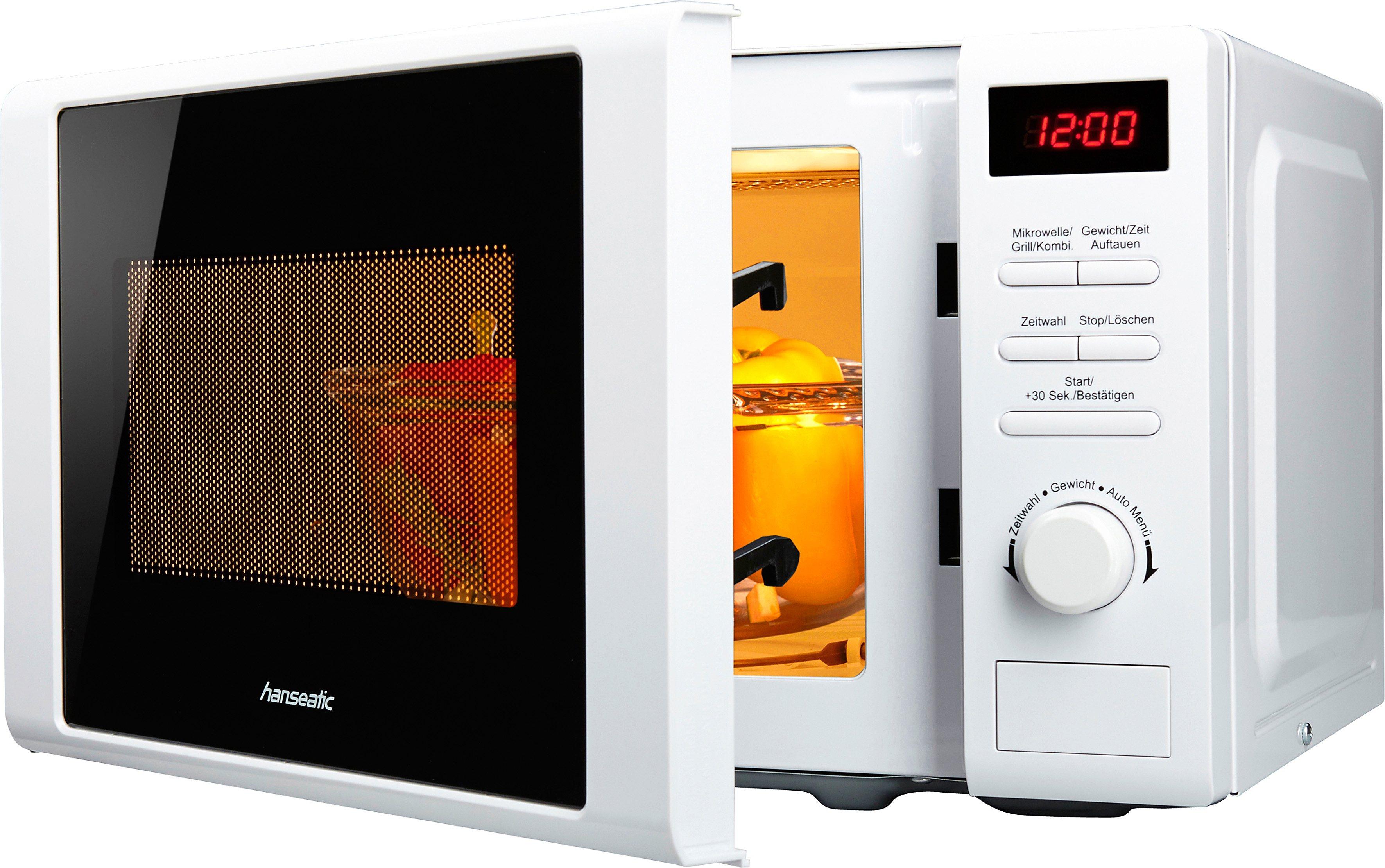 *Hanseatic Mikrowelle, mit Grill, 20 Liter Garraum, 700 Watt, weiß*