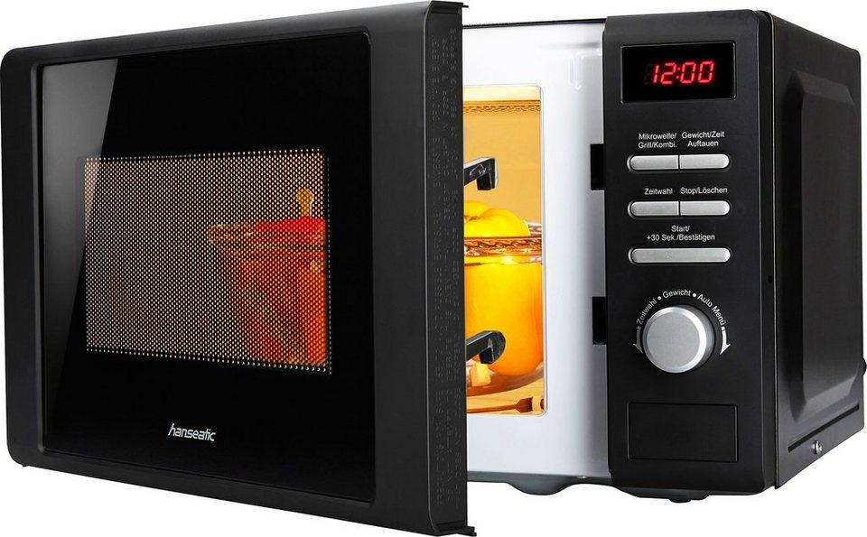 Hanseatic mikrowelle mit grill 5 leistungsstufen 20 for Mikrowelle kleine kuche