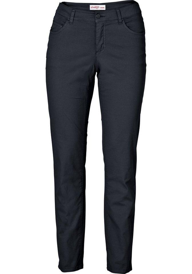sheego Style Hose mit Ziernähten in schwarz