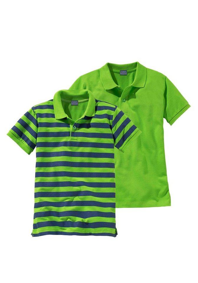 Arizona Poloshirt (Packung, 2 tlg.) in grün+grün-blau-gestreift
