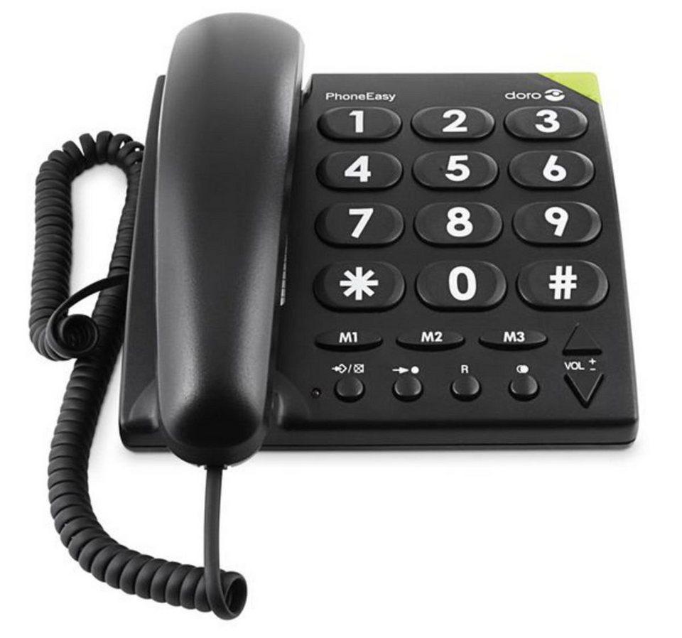 Doro Telefon analog schnurgebunden »PhoneEasy 311c, Schwarz« in Schwarz
