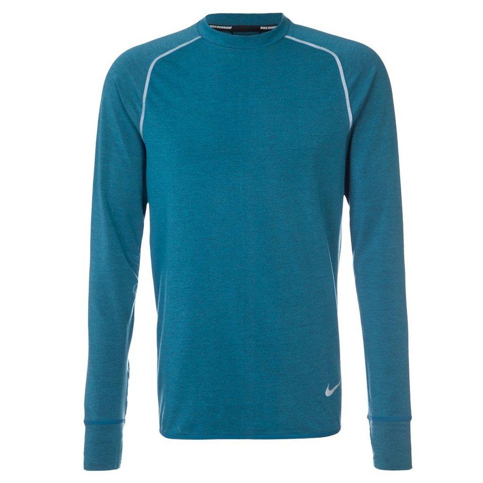 NIKE Dri-Fit Feather Fleece Crew Laufshirt Herren in blau / silber
