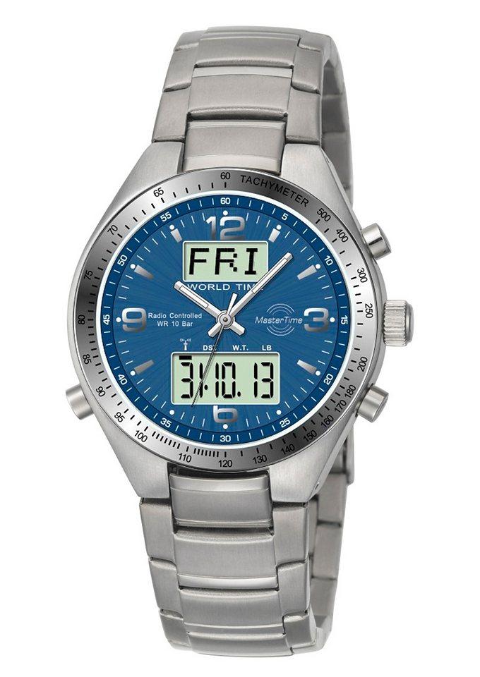 MASTER TIME Funkchronograph »MTGS-10329-32M« 3 Zeiger davon 2 Leuchtzeiger in silberfarben