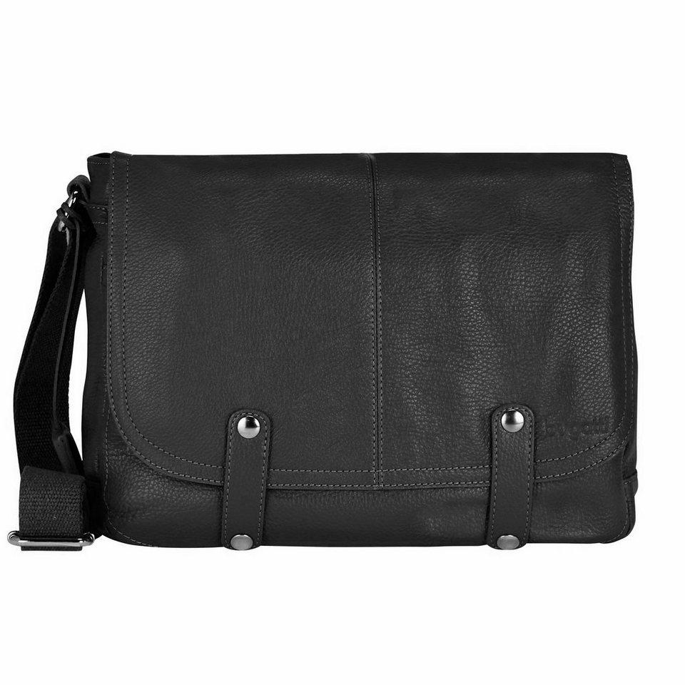 Bugatti Brisbane Messenger Tasche Leder 35,5 cm Laptopfach in schwarz