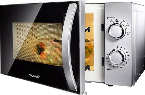 Hanseatic Mikrowelle 634711, Mikrowelle, 20 l, Auftaufunktion, silberfarben