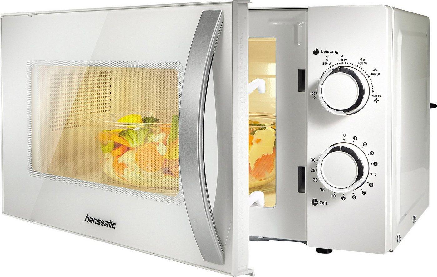 *Hanseatic Mikrowelle SMH207P3H-P weiß, 700 W, Auftaufunktion*