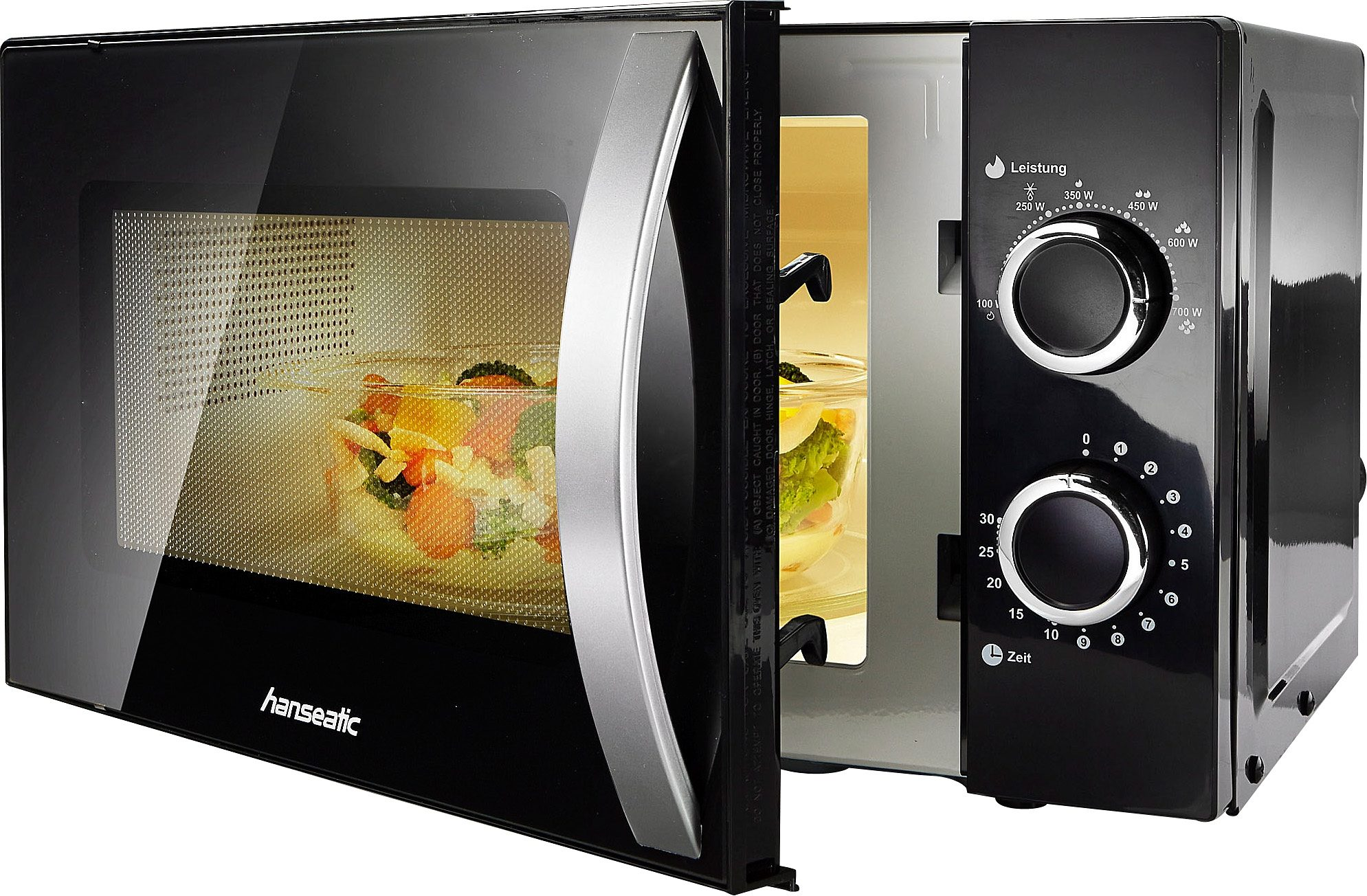 Hanseatic Mikrowelle SMH207P3H-P schwarz, 700 W, Auftaufunktion