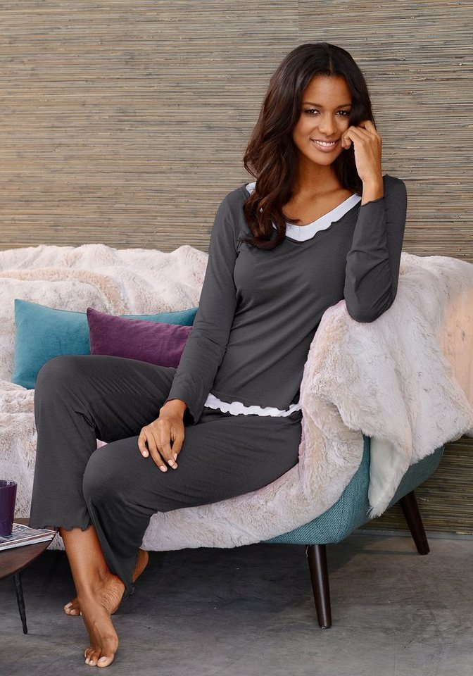 LASCANA Pyjama in hochwertiger Layeroptik in anthrazit meliert