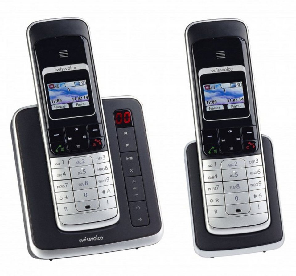 Swissvoice ISDN Telefon schnurlos »Eurit 459 TAM Colour Duo« in Schwarz