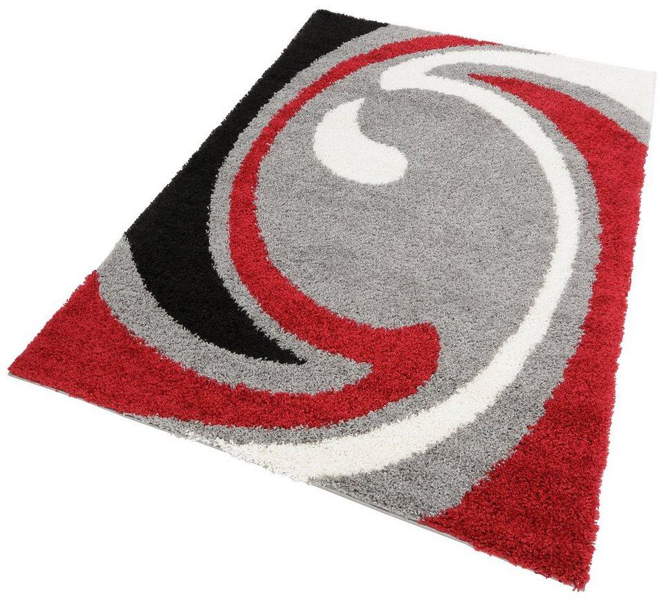 Hochflor-Teppich, my home, »Tarragona«, Höhe 30 mm, gewebt in grau-rot