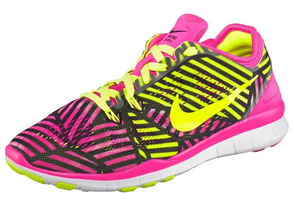 Nike Free 5.0 TR Fit 5 PRT Wmns Fitnessschuh in Neon-Pink-Gelb