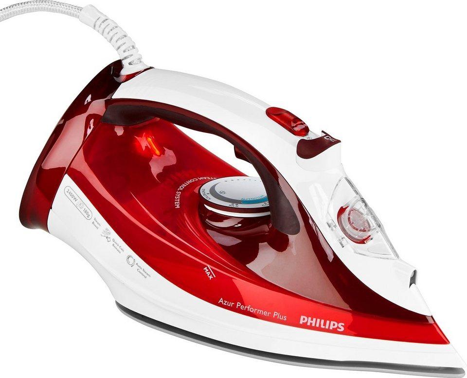Philips Dampfbügeleisen GC4511/40 Azur Performer Plus, 2400 Watt, rot/weiß in rot / weiß