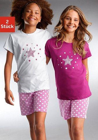 Petite Fleur, Shorty (2 Stück.), unsere Stars - modischer Sternendruck auf den Shirts und Hosen in weiß + beere