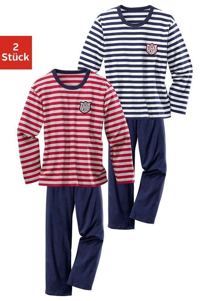 H.I.S Pyjama (2 Stück), mit garngefärbtem Streifen in rot-grau meliert + marine-weiß