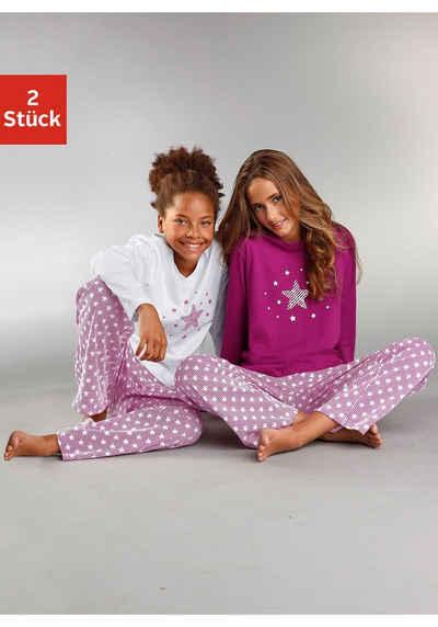 petite fleur Pyjama (2 tlg., 2 Stück) modischer Sternendruck auf den Shirts und Hosen