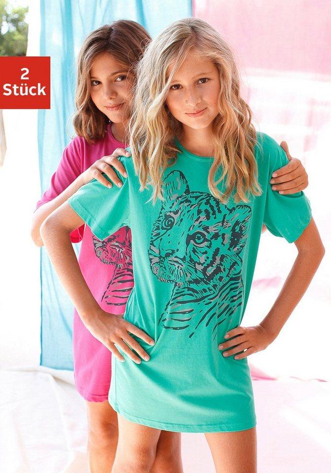 Nachthemd (2 Stück), bequeme Schlafshirt's mit coolem Raubtierdruck in mint+pink