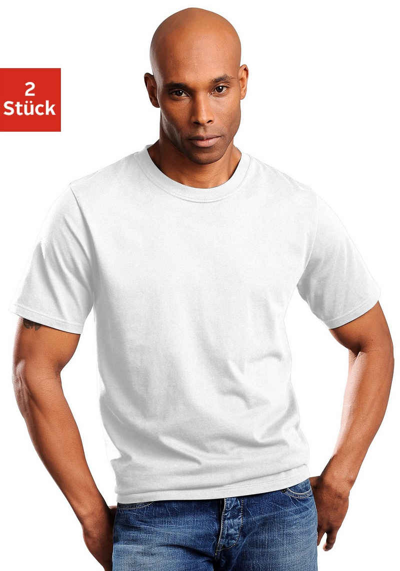 Schiesser T-Shirt (2er-Pack) schlichte Basic-Shirts in Top-Markenqualität