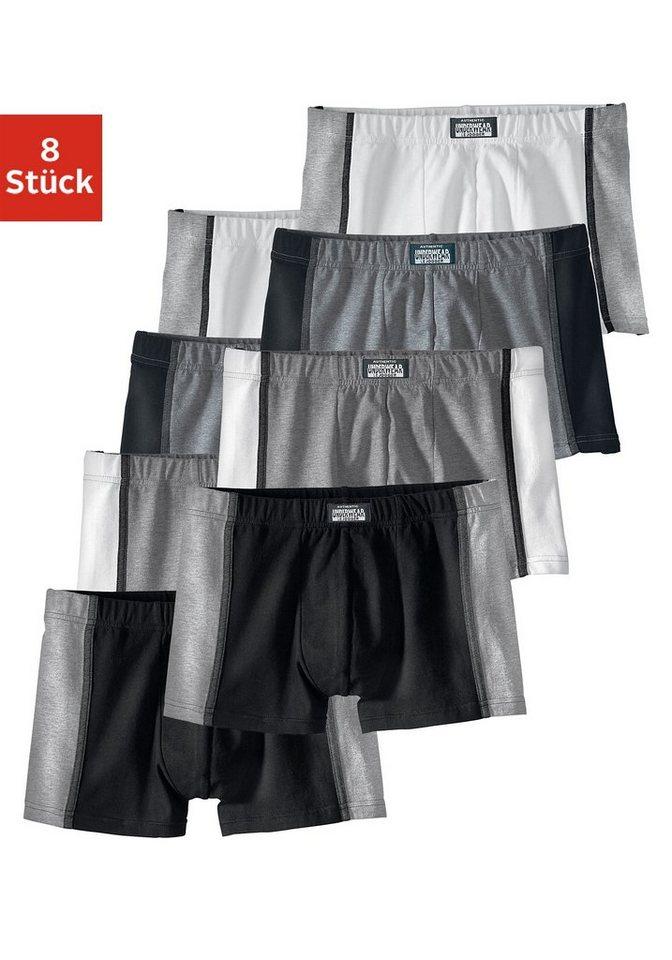 Authentic Underwear, Boxer (8 Stück), sportiver Style aus elastischer Baumwoll-Stretch-Qualität in 8x Grautöne