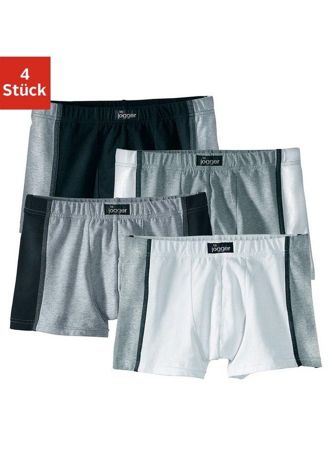 Authentic Underwear, Boxer (4 Stück), sportiver Style aus elastischer Baumwoll-Stretch-Qualität in dunkelgrau + grau + weiß + schwarz