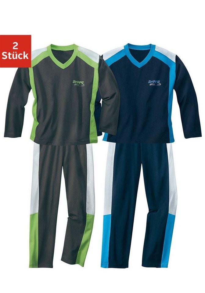 Pyjama (2 Stück), tolle Optik durch farbige Einsätze in 1x grau + 1x marine
