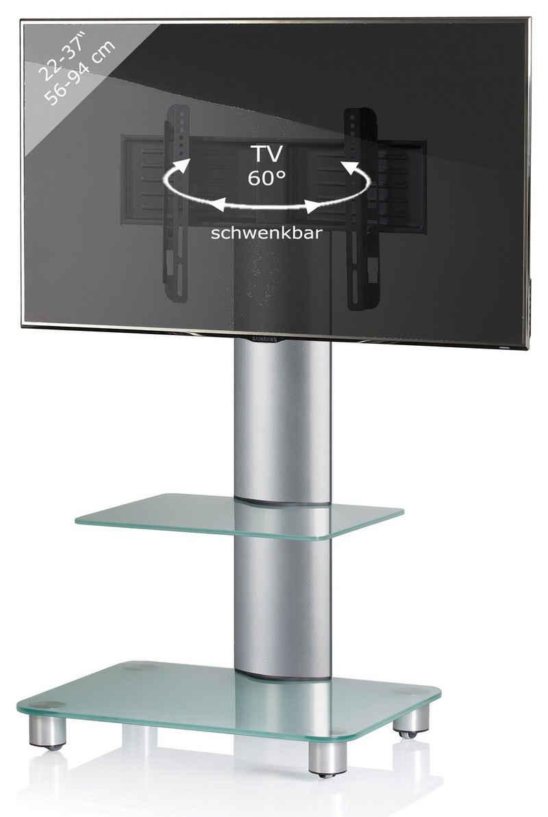VCM »TV Standfuß Alu Glas Bilano ZW mit Rollen« TV-Ständer