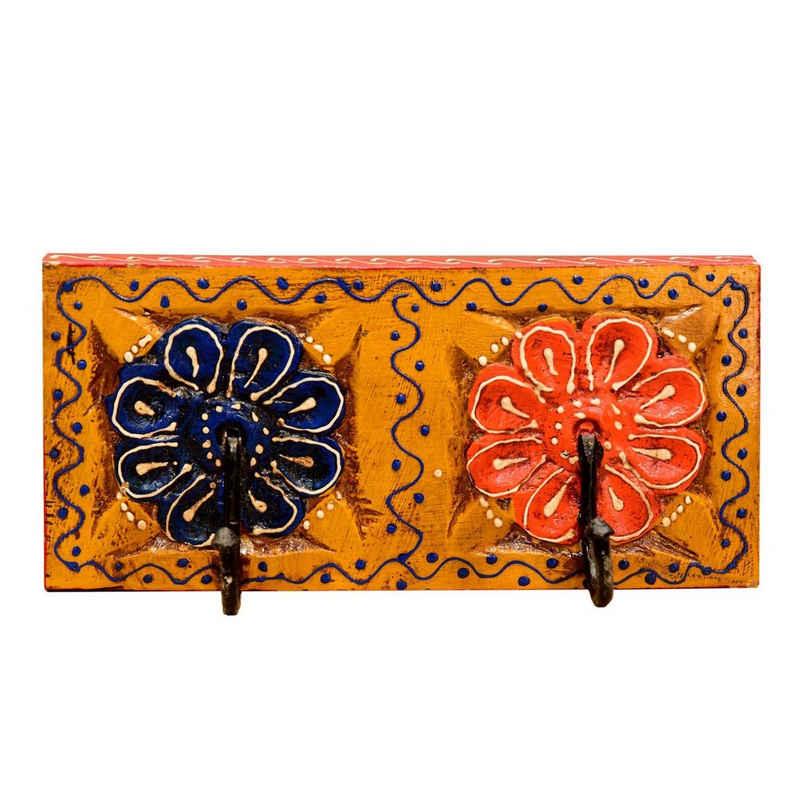 Casa Moro Garderobenleiste »Orientalische Kleiderhaken handbemalte Hakenleiste mit 2 Haken in schönen bunten Blumenmustern aus massiv Holz handgeschnitzt, MA11-02-C«