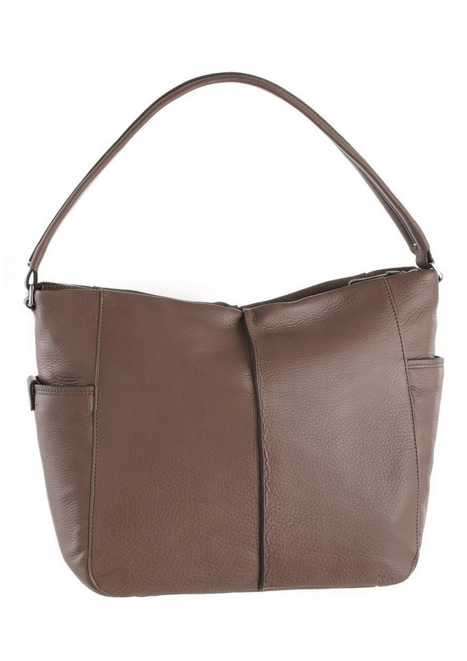 Marc O´Polo Hobo Bag aus Leder in taupe