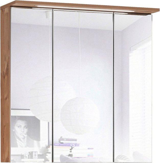 Spiegel - Schildmeyer Spiegelschrank »Profil« Breite 70 cm, 3 türig, eingelassene LED Beleuchtung, Schalter Steckdosenbox, Glaseinlegeböden, Made in Germany  - Onlineshop OTTO