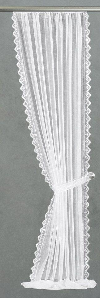 Gardine, Vhg, »Senta«, mit Kräuselband, im Festmaß (2 Stück) in weiß