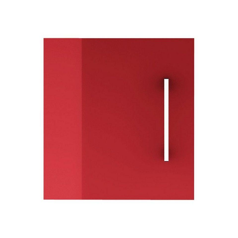 Aufsatzschrank in weiß/rubinrot