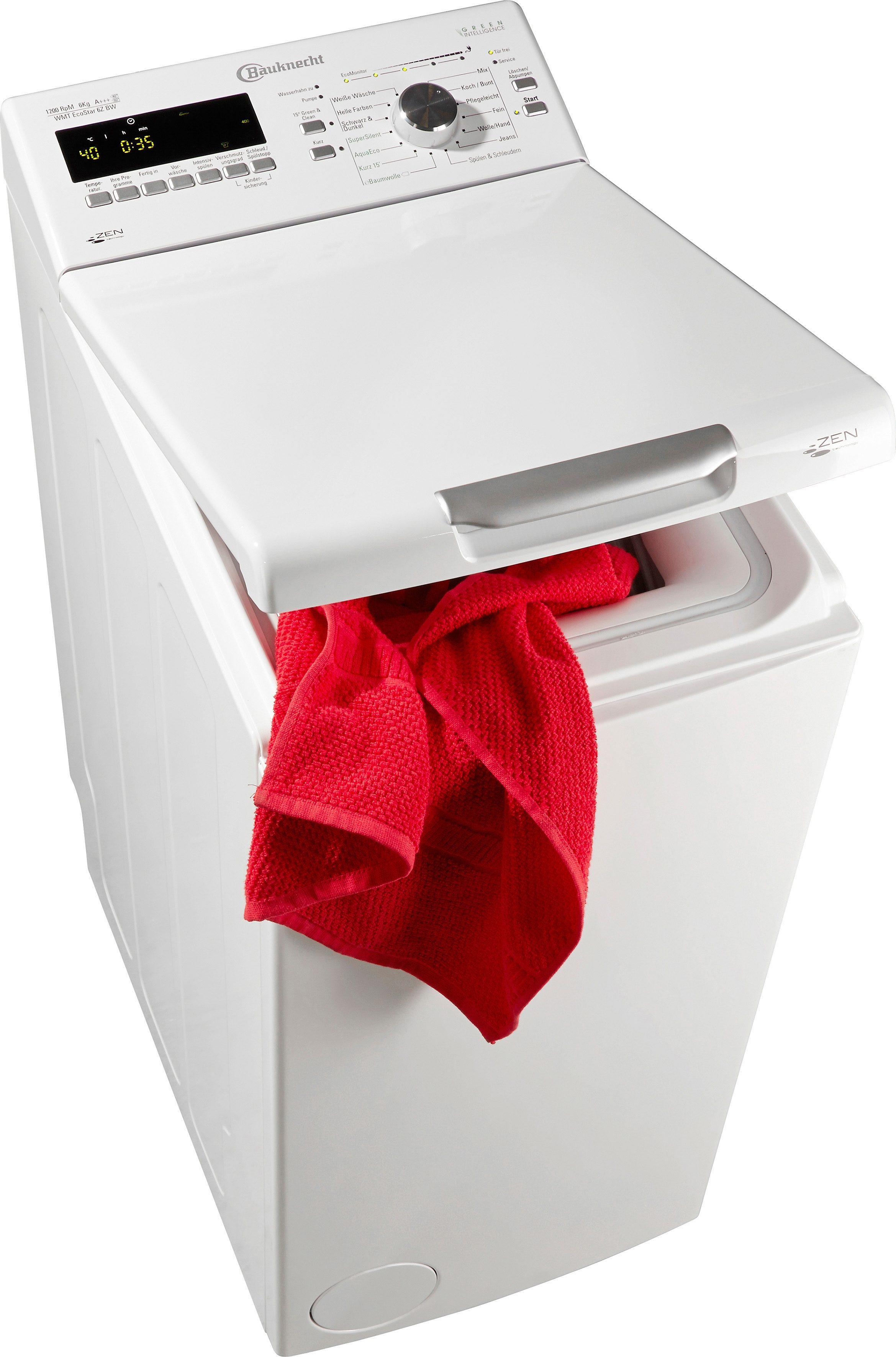 BAUKNECHT Waschmaschine Toplader WMT EcoStar 6Z BW, A+++, 6 kg, 1200 U/Min