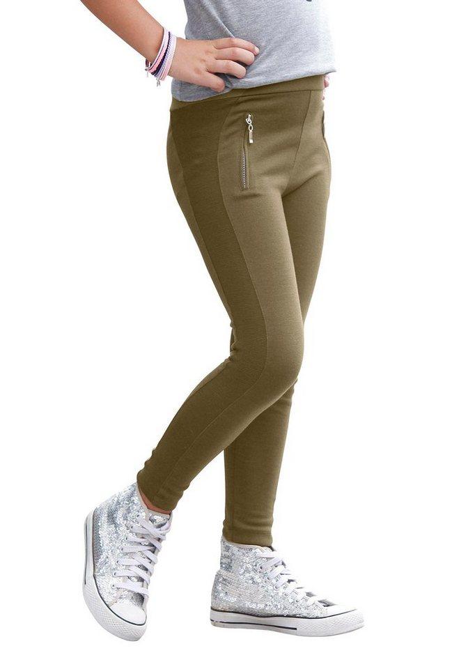 CFL Leggings mit seitlichen Rippeneinsätzen in khaki