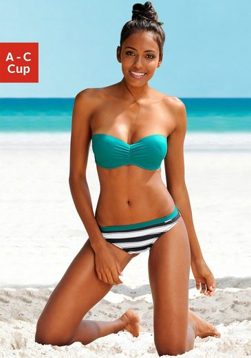 Block-stripe Trousers Chiemsee Balconette Bikini With Ruffles At The Cup And