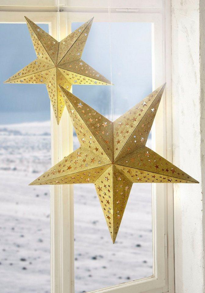 christmaxx LED-Holzstern mit Glitzer-Dekor in gold