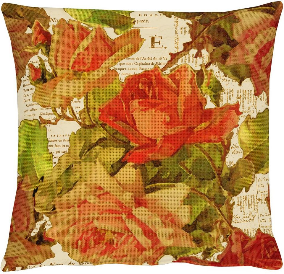 Kissen, Apelt, »3039«, Baumwolldruck in floral natur