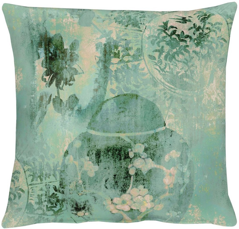 Kissen, Apelt, »Jade«, Baumwolldruck in türkis