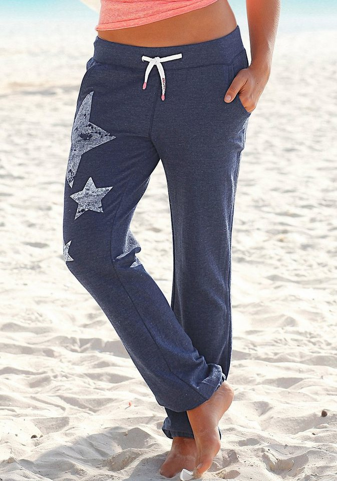 Venice Beach Sweathose mit Sternendruck in blau meliert