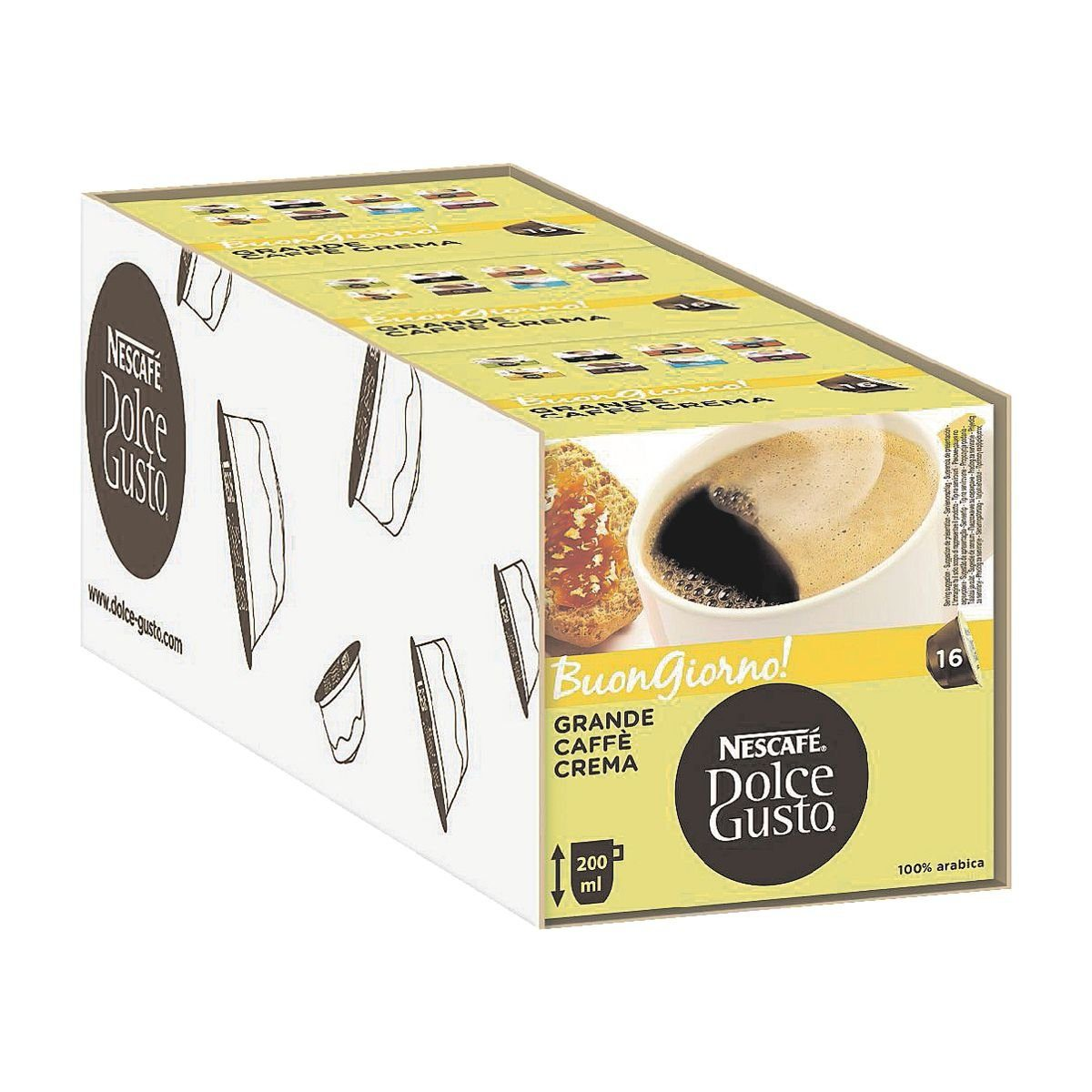 NESCAFE 3x Kaffeekapseln »Dolce Gusto Grande Caffè Crema...