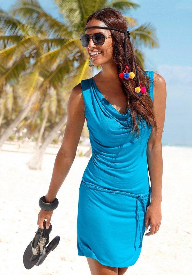 Beachtime Strandkleid mit Wasserfallausschnitt in türkis