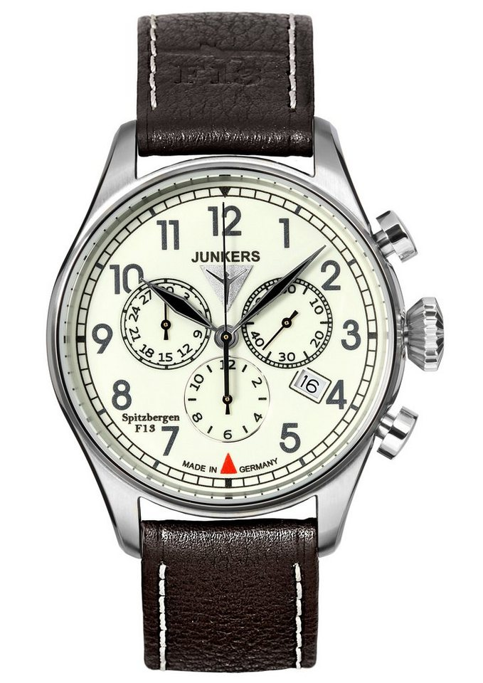 Junkers-Uhren Chronograph »Spitzbergen F13, 6186-5« Made in Germany in dunkelbraun