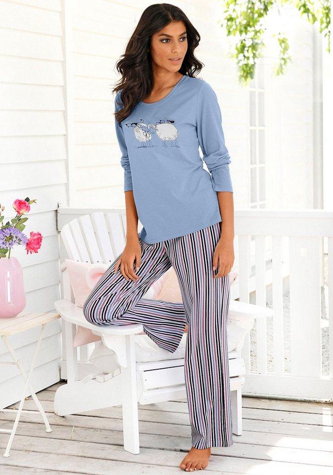Vivance Dreams Pyjama mit feinen Streifen & Schäfchenprint in hellblau-gestreift