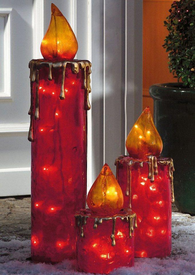 Mailord Collection Außenleuchten-Set , »Maxi-Kerzen« (3tlg.) in rot