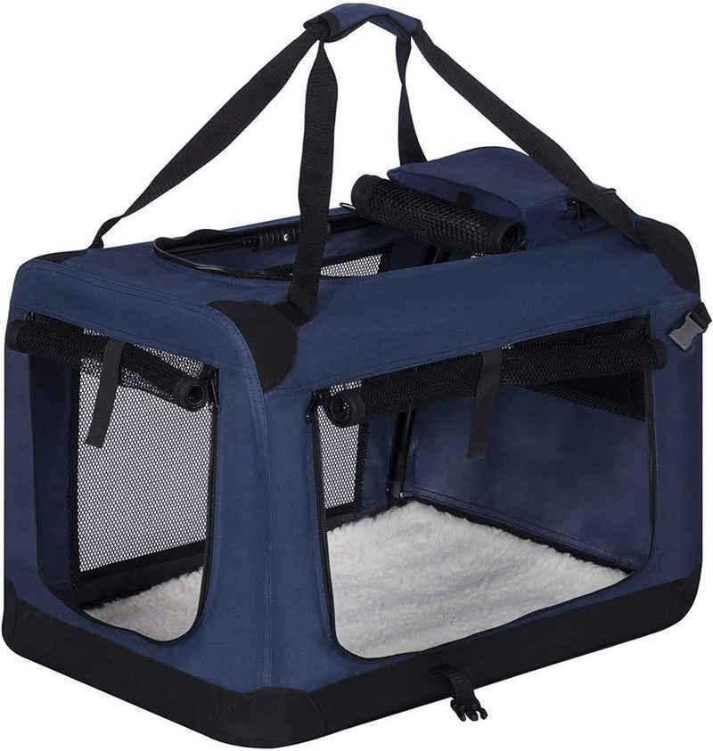 EUGAD Tiertransporttasche »0315HT«, Hundebox faltbar Hundetransportbox Blau