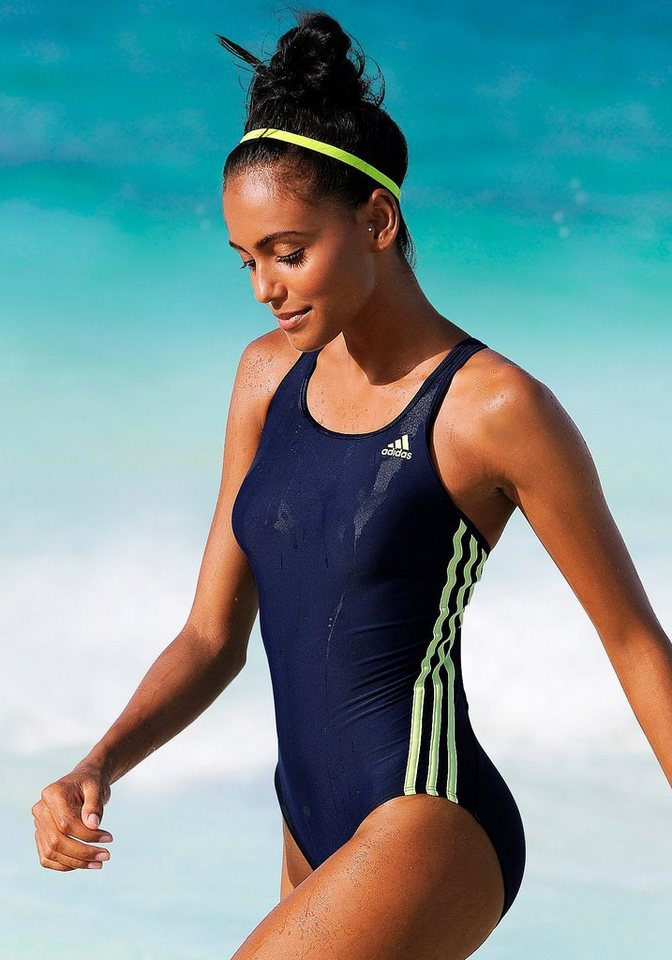 Badeanzug, adidas Performance in marine-gelb