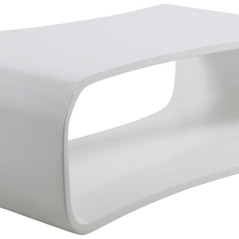 Synoun Couchtisch weiß Hochglanz ausgefallene Form mit Ablage innen »Tenger«
