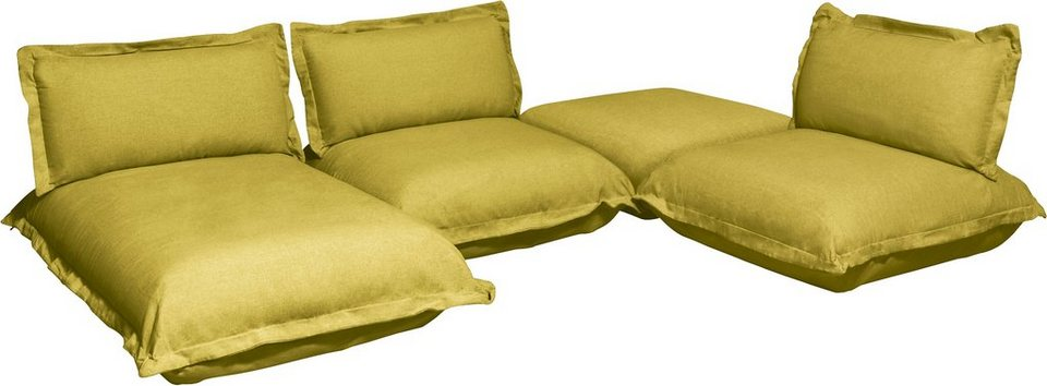 TOM TAILOR Wohnlandschaft »CUSHION«, flexibel montierbar in mustard green TBO 5