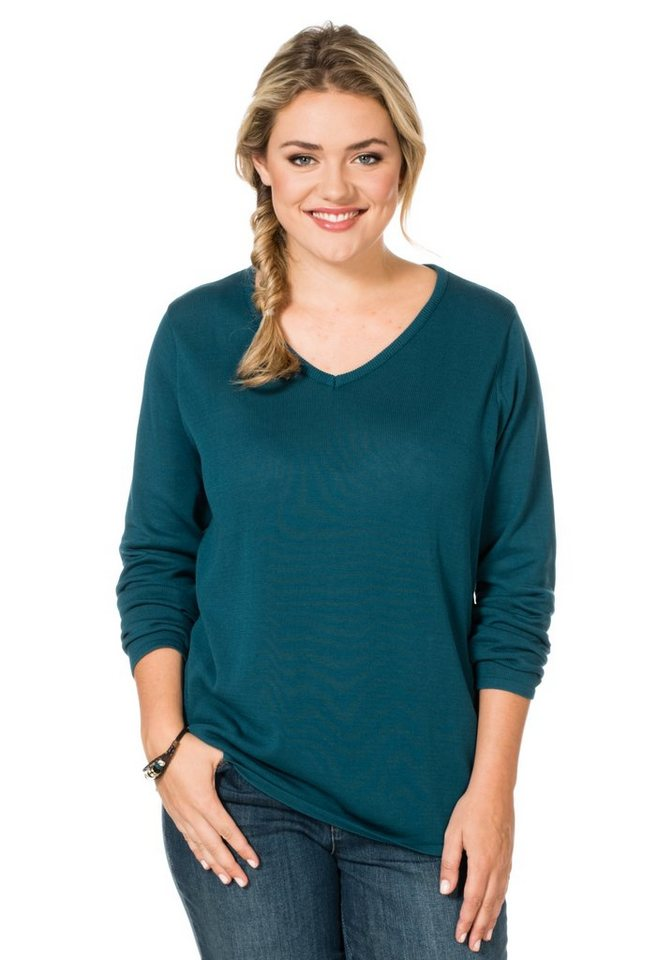 sheego Casual Strickpullover in petrol